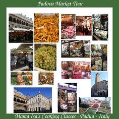 """Food Market Tour in Padova (Padua), in the Veneto region - Italy with Mama Isa.Enjoy Padova through its most historic non-touristy traditional Padova Food Open-air Markets: Piazza delle Erbe & Piazza dei Frutti & Piazza dei Signori and """"sotto il Salone""""."""