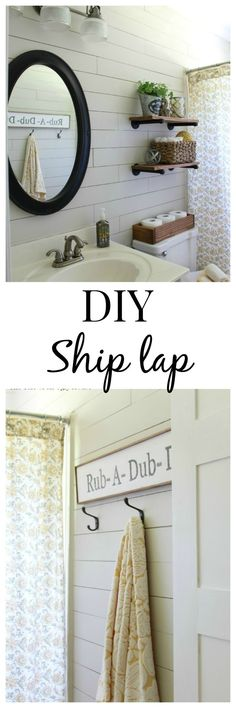 Create a farmhouse style bath by installing ship lap. .............. Also love the Industrial shelving with plants + floral shower curtain