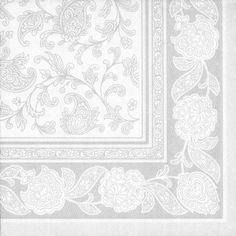 """Premium Servietten """"ROYAL Collection"""" 1/4-Falz 40 cm x 40 cm weiss """"Ornaments"""" für Hochzeitsfeier. Menge: 250 St"""