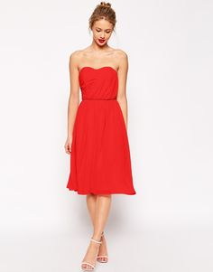 ASOS COLLECTION ASOS Ruched Full Midi Bandeau Dress