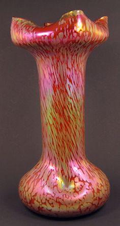 "Rindskopf Papillon Art Glass Vase, 12"" tall."