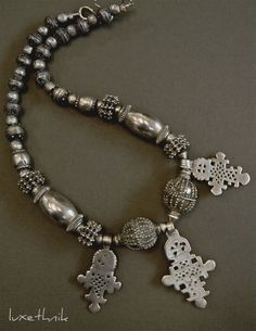 ANTIQUE SILVER ETHIOPIAN Cross Necklace by Luxethnik on Etsy, $975.00