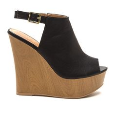 Wood You Peep My Peep-Toe Wedges BLACK ($30) ❤ liked on Polyvore featuring shoes, heels, black, sling back shoes, wood platform shoes, black shoes, black slingback shoes and peep-toe shoes