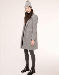 Pull&Bear - woman - coats & parkas - menswear style lined grey coat - grey - 09752305-I2015