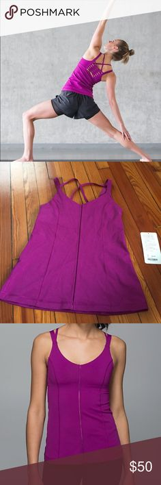 NWT lululemon hot to street tank Brand new! Tore off tag and then realized it was too tight in the chest. Fits more like a 6 in chest area. Pretty regal purple color. lululemon athletica Tops Tank Tops