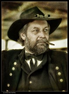 Photo taken by Lara Hartley of General  Ulysses S Grant look alike during the American Civil War reenactment of Union troops fighting the Confederates in the hills of the Calico Mountain ghost town