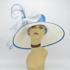 79888c98292c5 M826(Ivory Blue) High Quality Kentucky Derby Hat