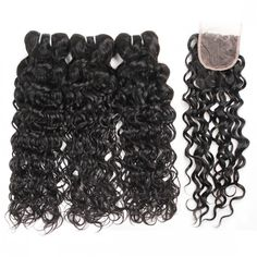 One More Virgin Human Hair Brazilian Water Wave Hair 3 Bundles With 4*4 Lace Closure,100% Unprocessed Human Hair Extensions No Shedding No Tangle Free Shipping.