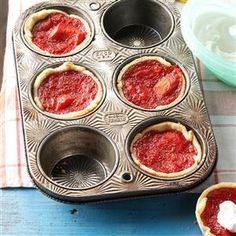 Winnie's Mini Rhubarb & Strawberry Pies Recipe -Every spring, we had strawberries and rhubarb on our farm outside Seattle. These fruity hand pies remind me of those times and of Grandma Winnie's baking. Rhubarb Desserts, Mini Desserts, Rhubarb Pie, Rhubarb Dumplings, Easy Rhubarb Recipes, Rhubarb Ideas, Rhubarb Crunch, Easter Desserts, Wedding Desserts