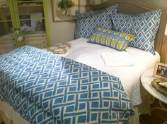Linens by Traditions by Pamela Kline at Fraiche on the Avenues, Richmond, Virginia Richmond Virginia, Duvet, Bedding, Linens, Comforters, Design Inspiration, Traditional, Blanket, Holiday Decor