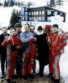 Audrey Hepburn photographed with the French Ski team during the Winter Olympic Games in Chamrousse, France. February 15, 1968.
