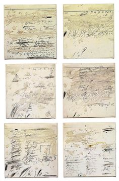Cy Twombly / Poems to the Sea i-vi, 1959, oil, graphite, wax crayon on paper.