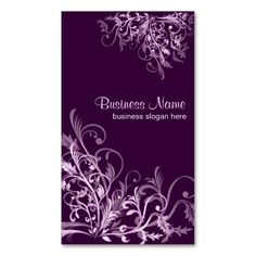 Elegant Retro Lavender Flower Swirls 3 Business Card Templates