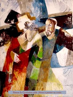 Simon le cyrénéen aide Jésus a porter sa croix Peintre : Yan VITA .Acrylique 2016.