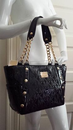 MICHAEL Kors DELANCY #38T3YDEE2Z MD Shoulder TOTE in Black MK Sig Mirr Metallic  #MichaelKors #TotesShoppers