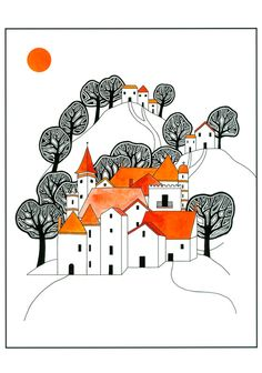 "10"" x 8"" Illustration Art Print Ink And Watercolour Drawing Hilltop Village Orange Black Graphic Art Trees Houses"