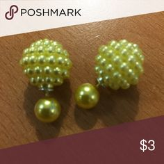 New Yellow Double Bead Stud Earrings Fashion Jewelry - The earrings can be worn both ways  - The largest ball is an 1/2 inch - BUNDLE 3 OR MORE TO SAVE 20% - Any questions let me know. 343P Jewelry Earrings