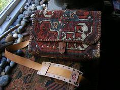 carpet bag purse handbag antique rug small satchel. $225.00, via Etsy.