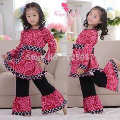 girls clothing sets kids clothes summer set family Kids clothes Girls ruffle top sets free shipping