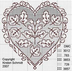 fall oak and maple leaf pattern Fall Cross Stitch, Cross Stitch Tree, Cross Stitch Heart, Cross Stitch Borders, Cross Stitch Designs, Cross Stitching, Cross Stitch Patterns, Blackwork Patterns, Blackwork Embroidery