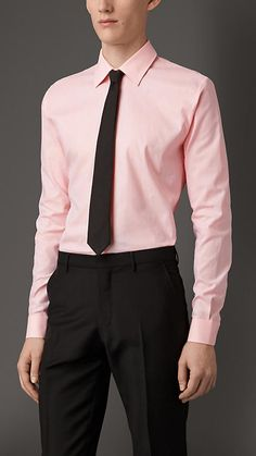 Burberry London Coral Rose Slim Fit Cotton Shirt - A slim fit shirt woven in cotton. The sharply tailored design features a point collar and adjustable cuffs. Discover men's tailoring at Burberry.com