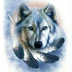 Diamond Painting Wolf and Feathers Kit Wolf 3d, Tribal Wolf, Beautiful Wolves, Animals Beautiful, Cute Animals, Wolf Spirit, Spirit Animal, Wolf Dreamcatcher, Fantasy Wolf
