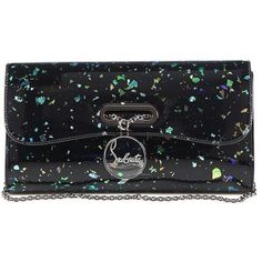 Christian Louboutin Riviera Glittered Patent Leather Clutch ($1,250) ❤ liked on Polyvore featuring bags, handbags, clutches, apparel & accessories, evening handbags, christian louboutin handbags, patent leather purse, evening purse and patent handbags