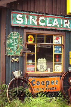 Nostalgic Decor, Americana Decor, Photograph, Sinclair Oil, Old Gas Station, Garage Art, Vintage Garage, Cooper Tires Quaker, Home Decor on Etsy, $30.00