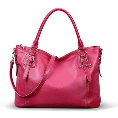 4df5759285 Kattee Vintage Genuine Soft Leather Large Tote Shoulder Bag Brown  Handbags   Amazon.com