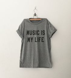 Music is my life Graphic Tee Women T-shirt Tumblr Clothing Hipster Shirts Screen Print Funny T Shirts for Teens Teenager Gift