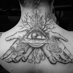 illuminati tattoo neck tattoo back tattoo Third Eye Tattoos, Back Tattoos, Great Tattoos, Body Art Tattoos, All Seeing Eye Tattoo, Thigh Tattoos, Amazing Tattoos, Girl Tattoos, Tatoos