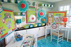 An Animated Springtime Classroom Setup | 30 Epic Examples Of Inspirational Classroom Decor Classroom Color Scheme, Red Classroom, Teacher Classroom Decorations, Classroom Setup, Classroom Design, Classroom Displays, School Classroom, School Fun, Classroom Organization