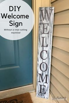 Check out this tutorial for how to make this DIY white washed welcome sign. You can even make it without a vinyl cutter! Check out this tutorial for how to make this DIY white washed welcome sign. You can even make it without a vinyl cutter! Outdoor Welcome Sign, Welcome Signs Front Door, Welcome Home Signs, Wooden Welcome Signs, Front Porch Signs, Diy Wood Signs, Outdoor Signs, Front Door Decor, Pallet Signs