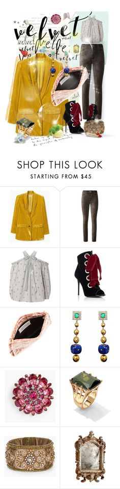 """Crushing on Velvet"" by jcmp ❤ liked on Polyvore featuring MANGO, Paige Denim, Needle & Thread, Giuseppe Zanotti, Maison Margiela, Carlo Zini, Talbots, Palm Beach Jewelry, Chico's and Cyan Design"