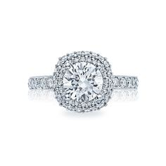 #Tacori style no. HT2520CU75. A single string of diamonds along the ceiling and the unique, cushion-shaped double bloom make this ring an impressive, positively beautiful ring. With a gorgeous carriage, the culet of the diamond just kisses the sweetheart carriage, and diamonds decorate crescent details for a provocative profile, gorgeous from every angle.