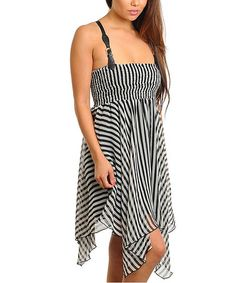 Take a look at this Black & White Handkerchief Hem Dress by 24|7 Frenzy on #zulily today!