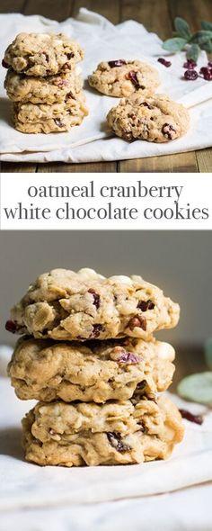 Oatmeal Cranberry White Chocolate Cookies for the Holidays. Recipe via http://MonPetitFour.com
