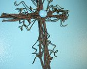 Barbed Wire Cross with Green Stone. $20.00, via Etsy.