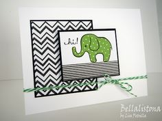 DeNami Chevron Elephant card by Lisa #washi #animal