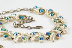 Cabootle - Coro Aurora Borealis Petrol Blue Diamante Necklace c.1950s, $100.00 (http://www.cabootle.com/products/slayleigh-james-estate/necklaces-pendants/coro-aurora-borealis-petrol-blue-diamante-necklace-c-1950s/)