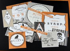 Halloween Labels . Apothecary Emporium Scrapbooking Embellishments, Tags or Card Starters. $2.50, via Etsy.