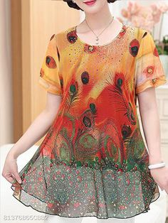 Round Neck Print Blouses - Top Look Blouse Styles, Blouse Designs, Cheap Womens Tops, Blouse Online, Trendy Tops, Lace Sleeves, Buy Dress, Printed Blouse, Shirt Blouses