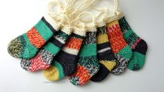 Mini Knitted Stocking Ornaments 7  Christmas in by LittleWoolens