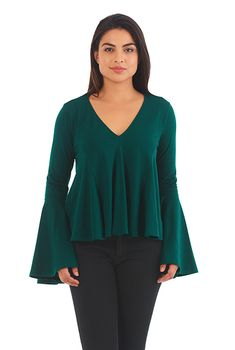 I <3 this Bell sleeve cotton knit tee from eShakti