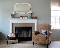 Lovely Painting Tile around Fireplace: Captivating Gray Painting Tile Around Fireplace With Glass Black Framed Cover Also White Mantels And Vintage Chair In Suitcase Inteior Space ~ wiligear.com Fireplace Inspiration