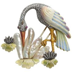 Pearl Diamond Silver Gold Crane Bird Brooch 1                                                                                                                                                                                 More