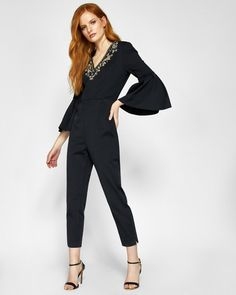 Embellished Bee flared sleeve jumpsuit - Black | Clothing | Ted Baker