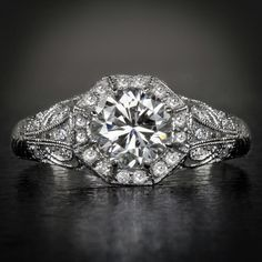 Art Deco 14 K White Gold Diamond Engagement by AmbersAntiquesCo, $9850.00