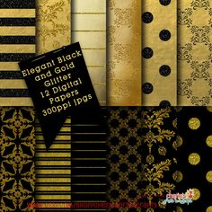 Black and Gold Glitter Digital Papers  by CheriesArtsnCrafts