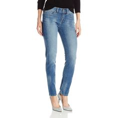 Yummie by Heather Thomson  Women's Modern Mid Rise Slimming Straight... ($27) ❤ liked on Polyvore featuring jeans, stretch blue jeans, stretch straight leg jeans, slim stretch jeans, mid rise straight leg jeans and super stretch jeans